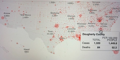 Data concerning Doughter County Georgia is highlighted on the New York Times coronavirus map. The data indicates that 1,320 cases and 84 deaths have occurred in the county. This translates to 1,449.8 cases and 92.3 deaths per 100,000 people100