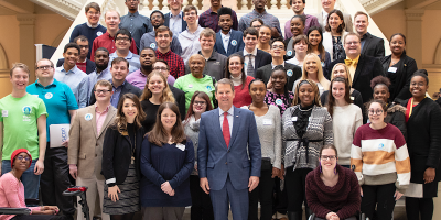 Academy students and staff with Georgia Gov.